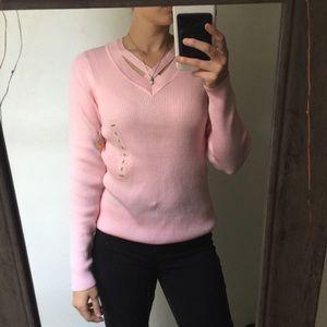 Kim Rogers pink cross neck v cut long sleeve top